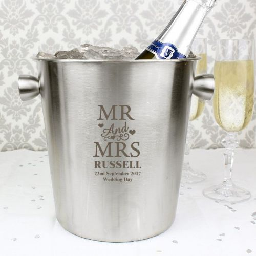 Mr & Mrs Stainless Steel Ice Bucket